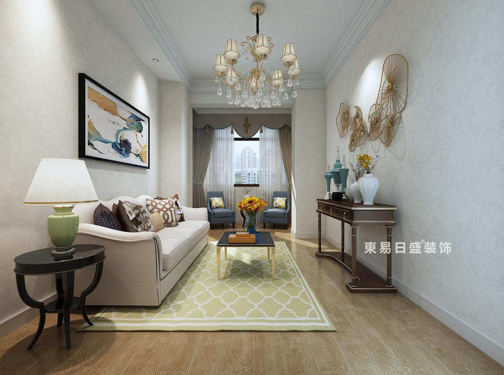 桂林自建别墅518㎡美式风格:起居室装修设计效果图