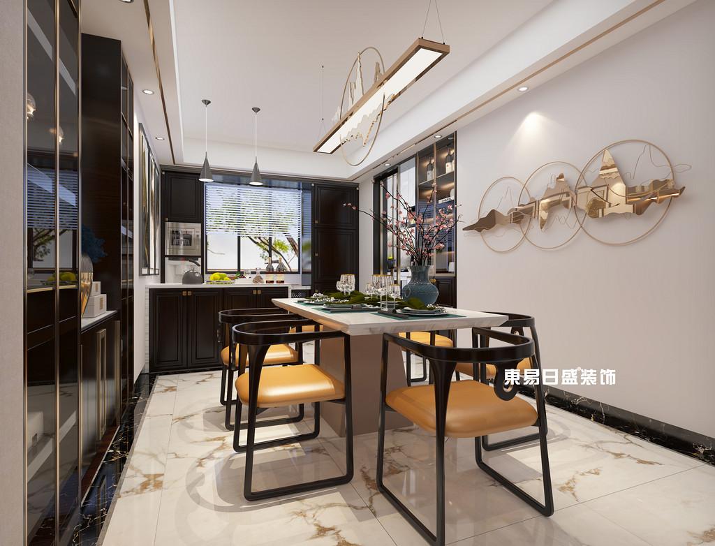 桂林兴进•漓江郡府金桂府五房两厅164㎡新中式装修风格:厨餐厅装修设计效果图