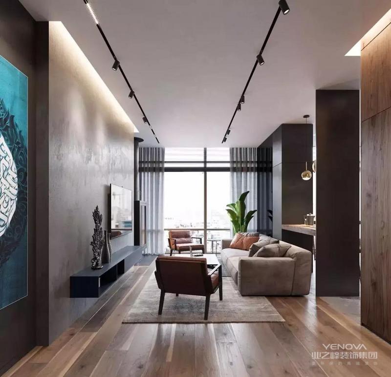 客厅以灰色作为主色调,金色点缀,打造高级质感,精致的家饰,除了要满足正常的生活需求外,也要将对艺术的审美得到展现,让这样的空间散发着奢华的韵味。