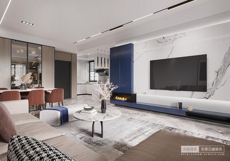 整体空间上以明亮的色调为主,哑光的清水砖,艺术涂料,点缀少量的爵士白大理石强调空间区域,并以蓝色为跳跃色点缀空间,使得整体空间色彩丰富的同时兼具深度。通过软硬材质和明暗色彩对空间领域或淡化或加强,没有刻意捆绑的元素、组合、形式,便是木色家居、清新画作,润物细无声般带来内心意蕴上的迎合。