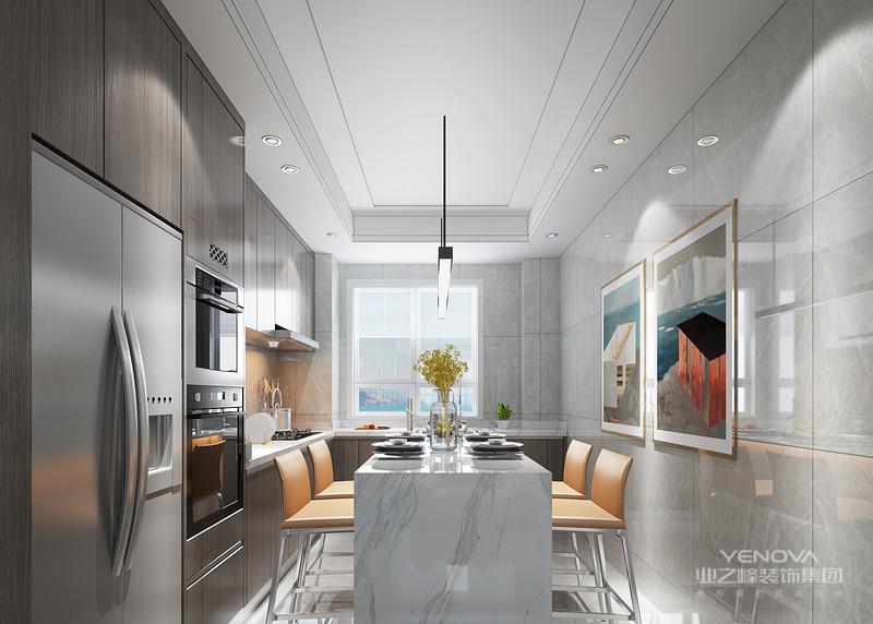 大理石导台搭配浅橘色椅子与厨房空间合理规划