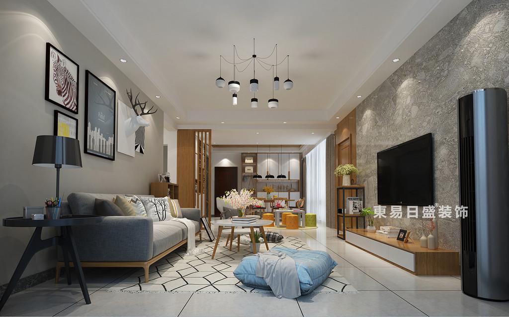 桂林医专家属楼四居室120㎡现代风格:客厅装修设计效果图