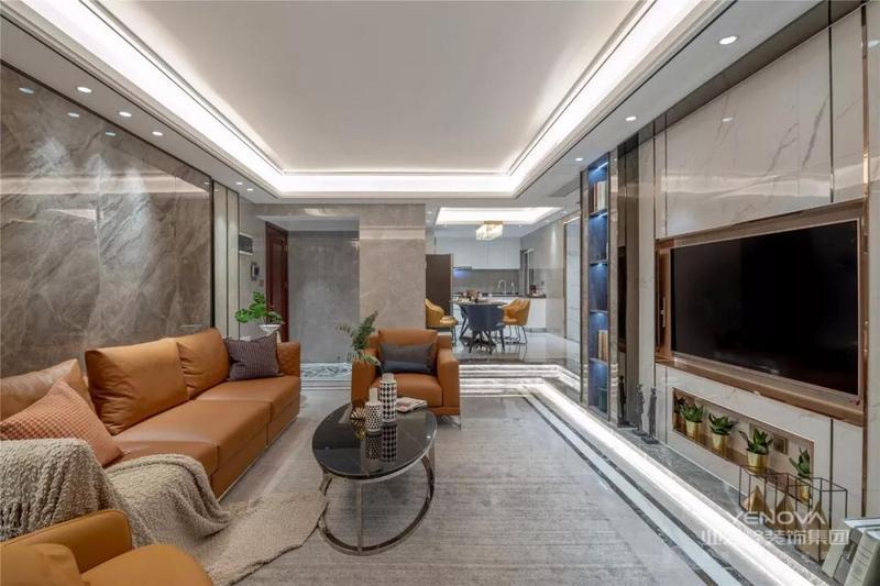 客厅整体现代雅致的空间,加入金属与大理石质感,在简洁时尚的空间里显得华丽档次。
