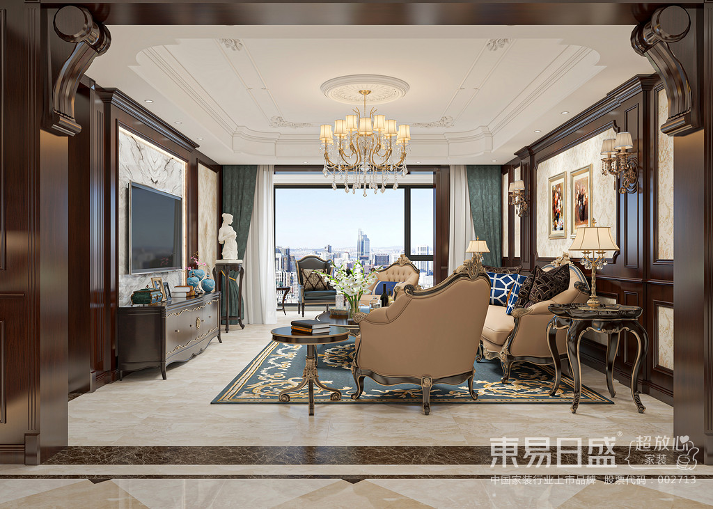 美式客厅风格较多采用嵌入式石膏吊顶,搭配精致的水晶吊顶,营造出一种怀旧、浪漫的感觉。