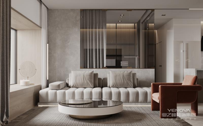 大面积木色串接空间轴线 减少视觉断点 使柔软温度流动于开放厨房空间 玻璃餐桌的透明感 巧妙烘托了室内活泼度