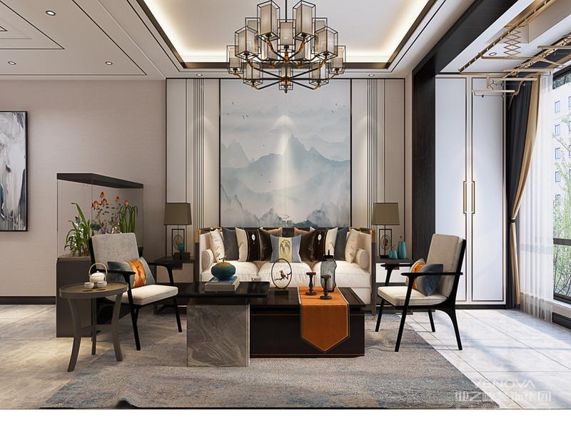 新中式风格的家具多以深色为主,墙面色彩搭配:一是以苏州园林和京城民宅的黑、白、灰色为基调;二是在黑、白、灰基础上以皇家住宅的红、黄、蓝、绿等作为局部色彩