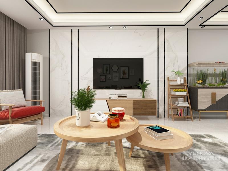 沙发的靠背设计成栅栏似的层架,不仅造型独特,还具有一定的收纳功能。茶几中间凹陷部分用来摆放花瓶、烛台等,再也适合不过。