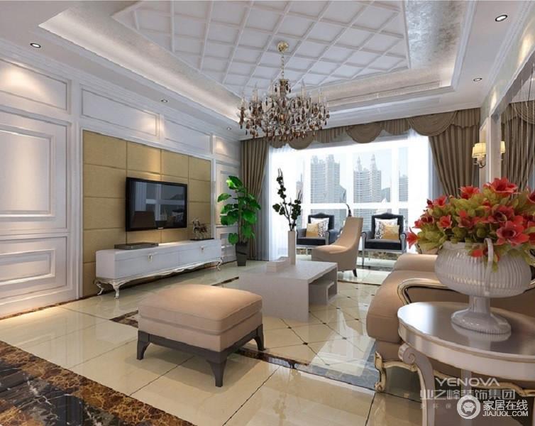 电视背景墙采用灰色软包,使白色的墙面不单调而具有层次感,欧式的整体家居让客厅显得华丽不张扬,地面的瓷砖也非常的亮丽。