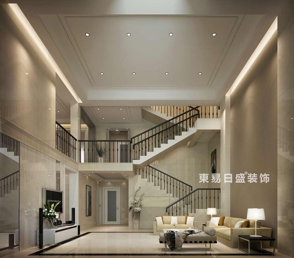 桂林空院别墅500㎡现代简约风格:客厅楼梯装修设计效果图