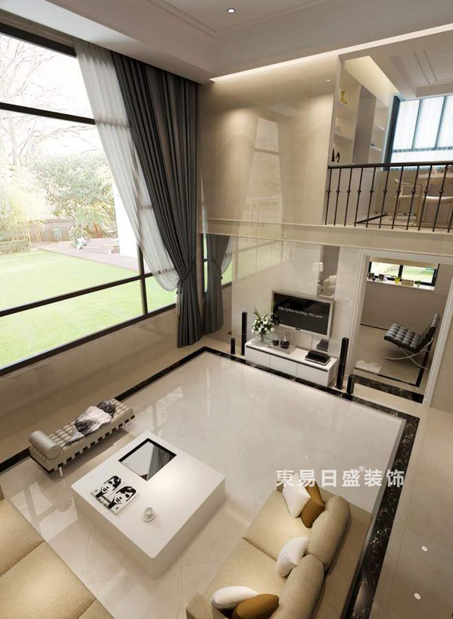 桂林空院别墅500㎡现代简约风格:客厅装修设计效果图(俯视图)