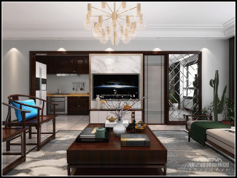中国风的构成主要体现在传统家具(多为清明家具为主)装饰品及黑,红为主的装饰色彩上。室内多采用对称式的布局方式,格调高雅,造型朴素优美,色彩浓厚而成熟