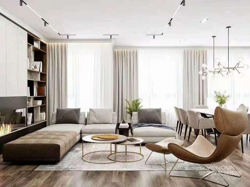简洁的表现形式来满足人们对空间环境的情感、本能和理性的需求,现代简约风格非常讲究的室内空间的哲学和材料的渗透性。