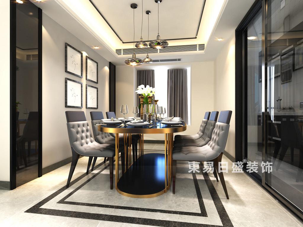 桂林華御公館三居室140㎡現代簡約風格:餐廳裝修設計效果圖