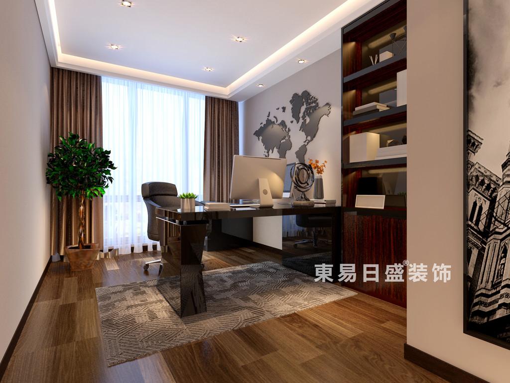 桂林华御公馆三居室140㎡现代简约风格:书房装修设计效果图