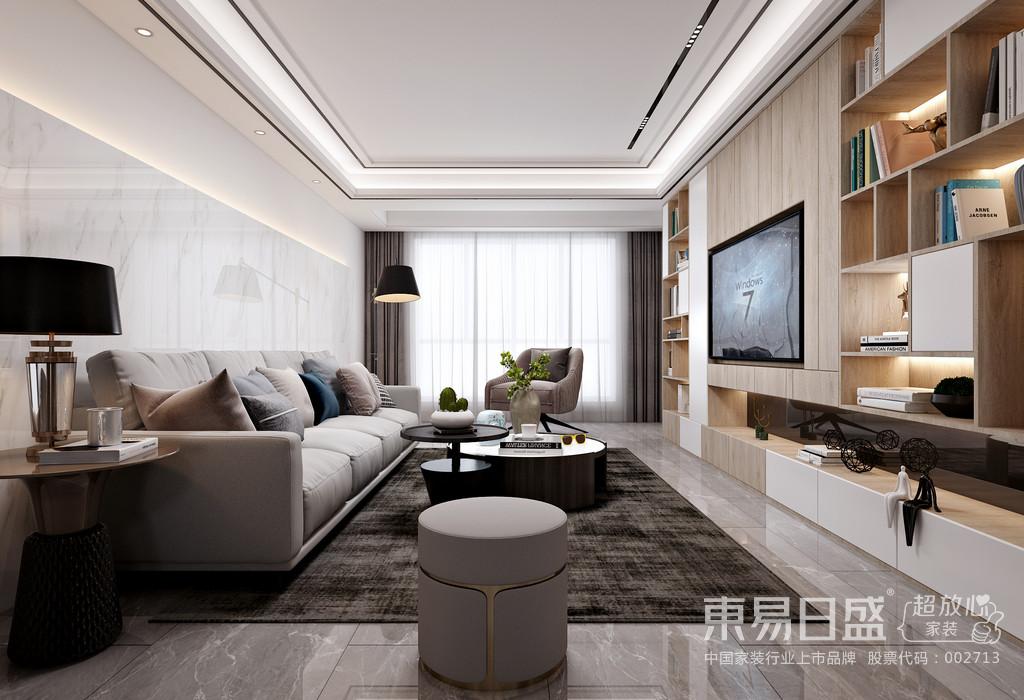 本案为现代简约风,墙面运用大量白色但不同材质、浅灰色的家具、原木色木制品让空间看上去格外简洁开阔,显得既沉稳又时尚,电视背景墙的多功能组合柜增加了客厅的使用功能。无主灯的设计、点光源和灯光带的使用理念丰富了空间的层次,营造出整个空间氛围的高级感。