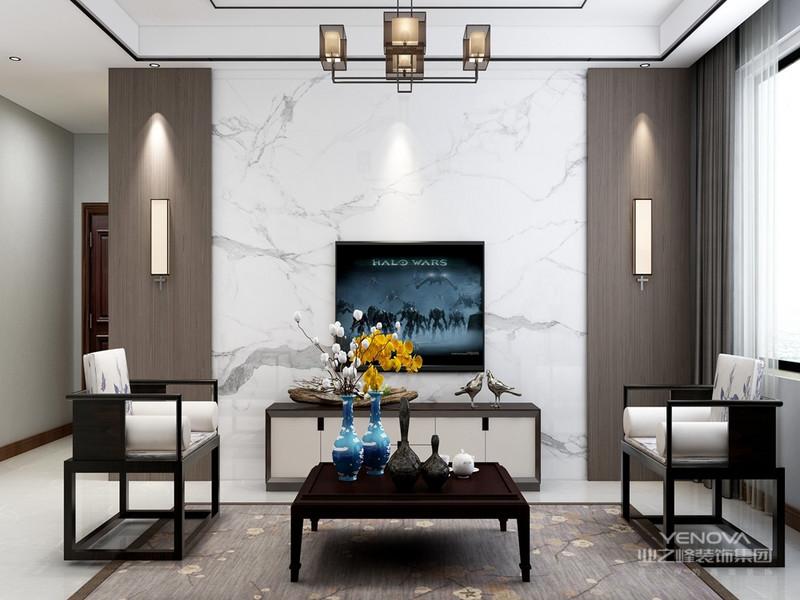 这样的设计风格没有过多的装饰物,主要以简单的线条和装饰简洁的造型来体现出新中式的设计