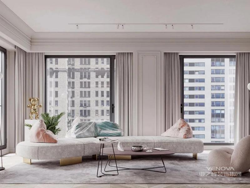 法式新古典小公寓,空间利用率值得给满分!客厅光线特别充足。
