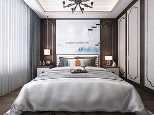 新中式风格卧室贝博官网登录效果图