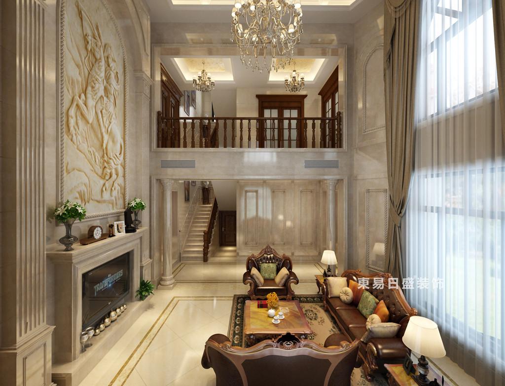 桂林华生•御景湾别墅600㎡欧式风格:客厅楼梯装修设计效果图