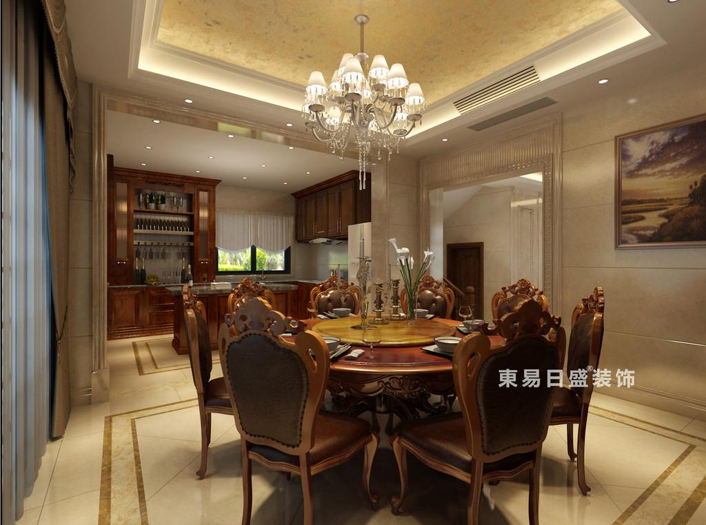 桂林华生•御景湾别墅600㎡欧式风格:餐厅厨房装修设计效果图