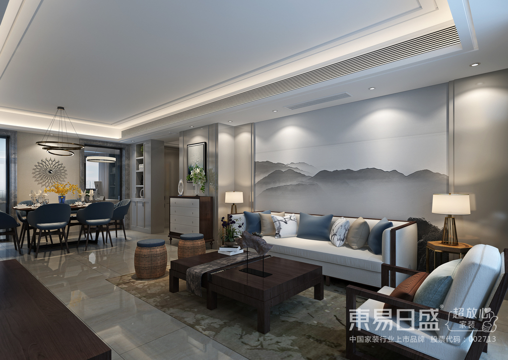 本案设计以现代的装饰手法和家具,结合古典中式的装饰元素,来呈现亦古亦今的空间氛围