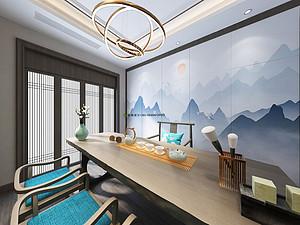 新中式风格茶室西甲买球盘口效果图