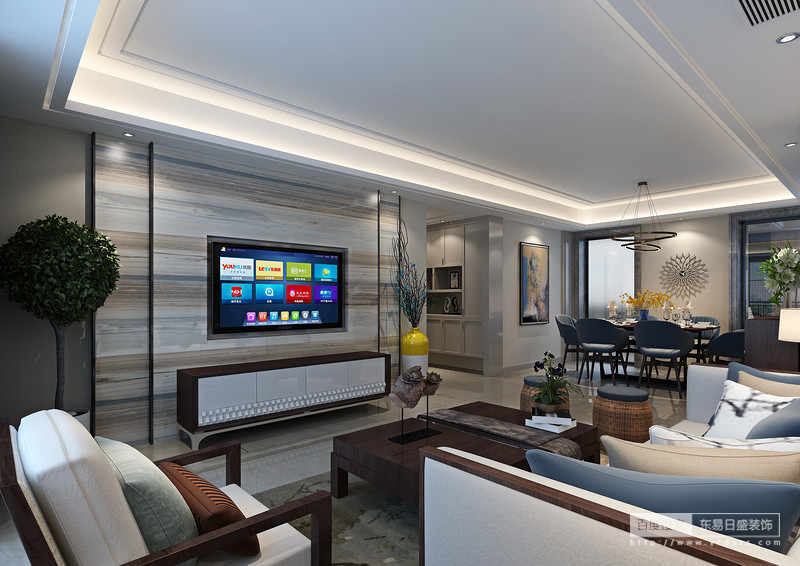电视墙的石材造型简洁现代,沙发背景水墨意境,地砖错乱铺贴,现代与中式完美组合。