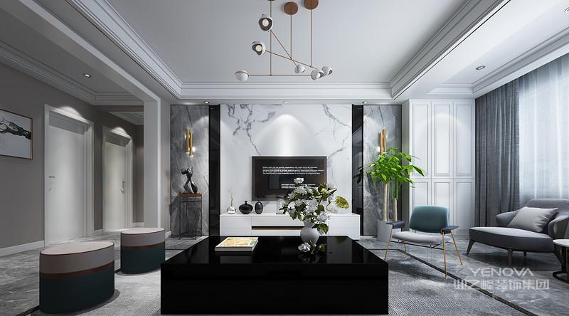 现代时尚为设计线索,摒弃了传统意义上的奢华,简化装饰,整体选用极简的白灰色色调,通过利落的线条与简洁的配色,来营造出主人对现代美感的极致追求。