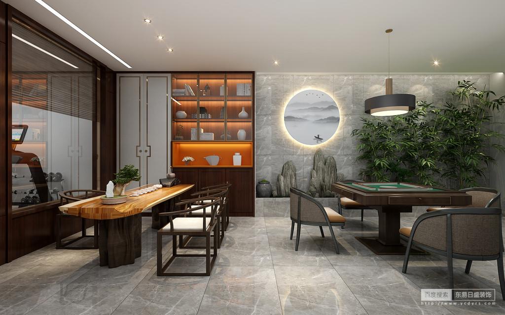 典雅的灰色和朴素的木色使得东方的风韵和 当代的艺术契合,简练却又温馨,背景墙的装置是设计对东方元素的延伸,共同营造出空间稳重的气质。