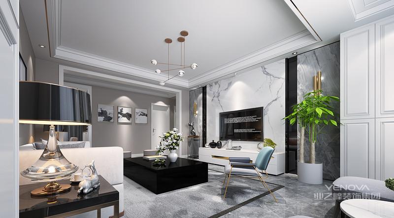 以白灰色为基调,通过一些精致而不失高档的软装元素点缀,在光线的调和下流露出家庭式的温馨及空间的干练大气之感,打造出精致的生活品质。
