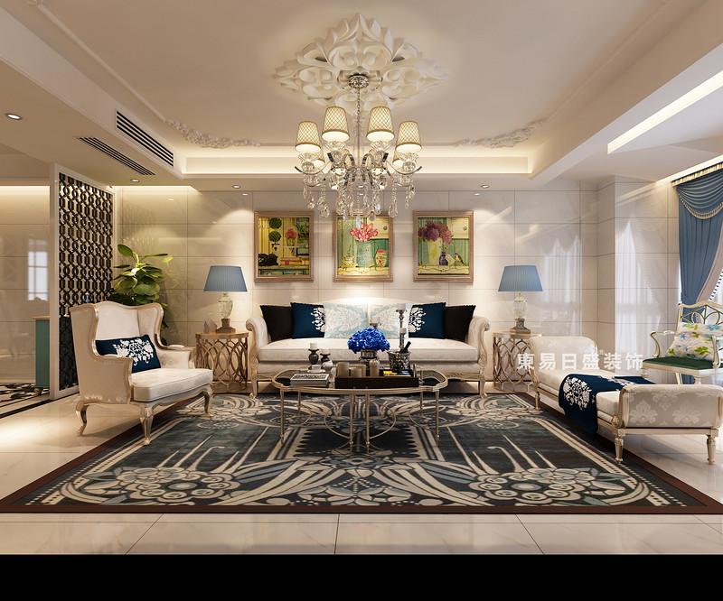 桂林彰泰•睿城四居室150㎡欧式风格:客厅装修设计效果图