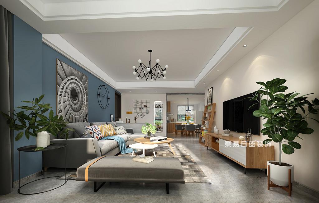 桂林国学府三居室110㎡北欧风格:客餐厅装修设计效果图