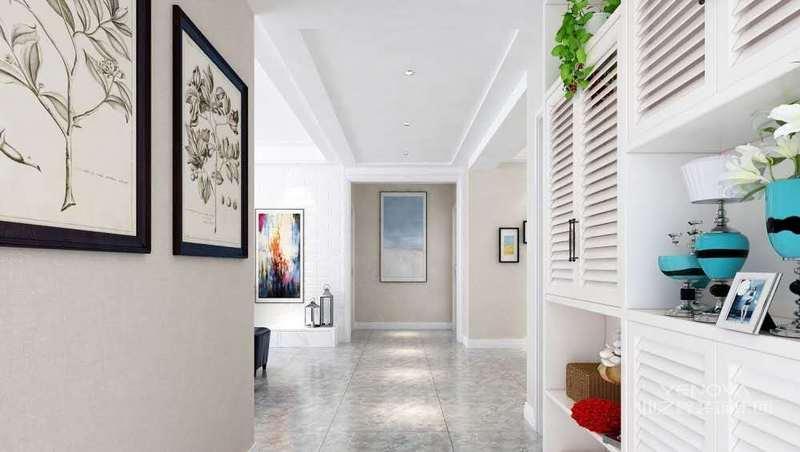 我们先看下客厅的设计,墙、顶面使用的是白色乳胶漆来装修,没有什么花哨的线条装饰,追求现代