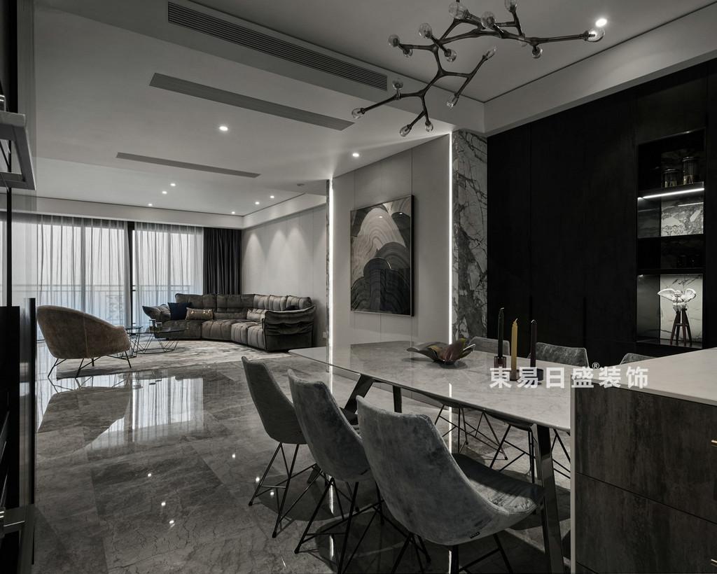 桂林兴进•漓江郡府三居室100㎡现代风格:客餐厅装修设计效果图