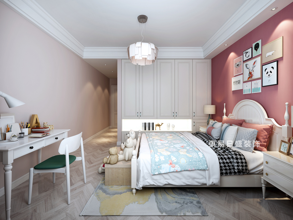 桂林复式楼280㎡现代简约风格:儿童房衣柜装修设计效果图