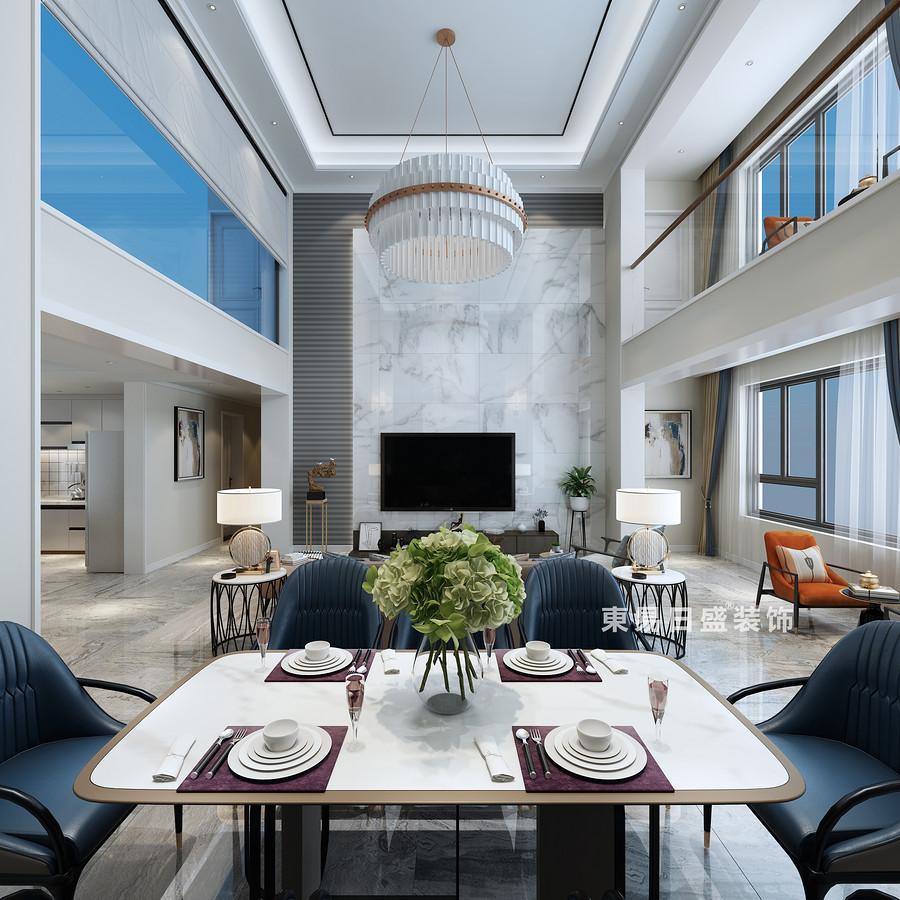 桂林复式楼280㎡现代简约风格:客厅电视墙装修设计效果图