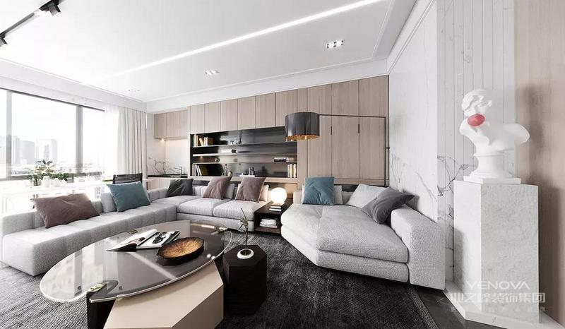 主背景色选用灰白、爵士白大理石等颜色和材质,营造安静的环境。