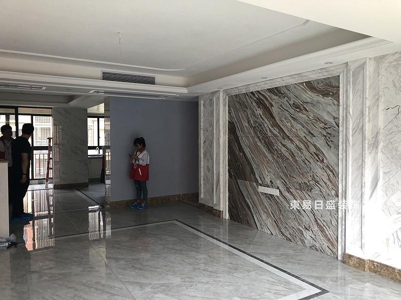 桂林彰泰•清华园四居室140㎡美式和欧式混搭风格:客厅装修设计实景图