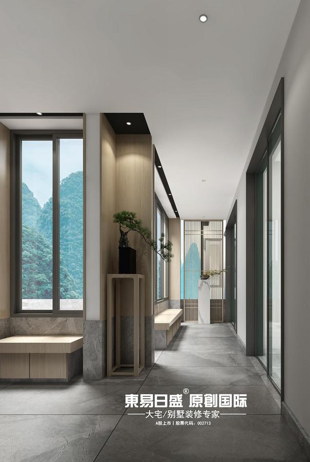 新安廈?西宸源著E戶型頂層合院6房2廳210㎡樣板房現代簡約風格:回廊裝修設計效果圖