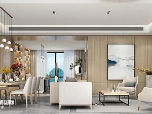 桂林新安厦•西宸源著E户型顶层合院6房2厅210㎡样板房现代简约装修风格