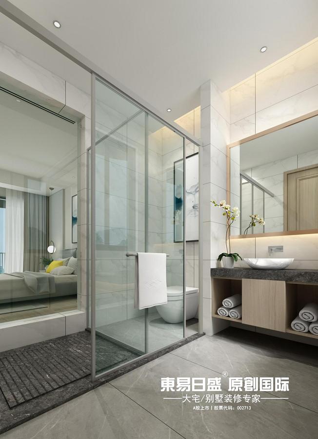 新安厦•西宸源著E户型顶层合院6房2厅210㎡样板房现代简约风格:主卫生间装修设计效果图