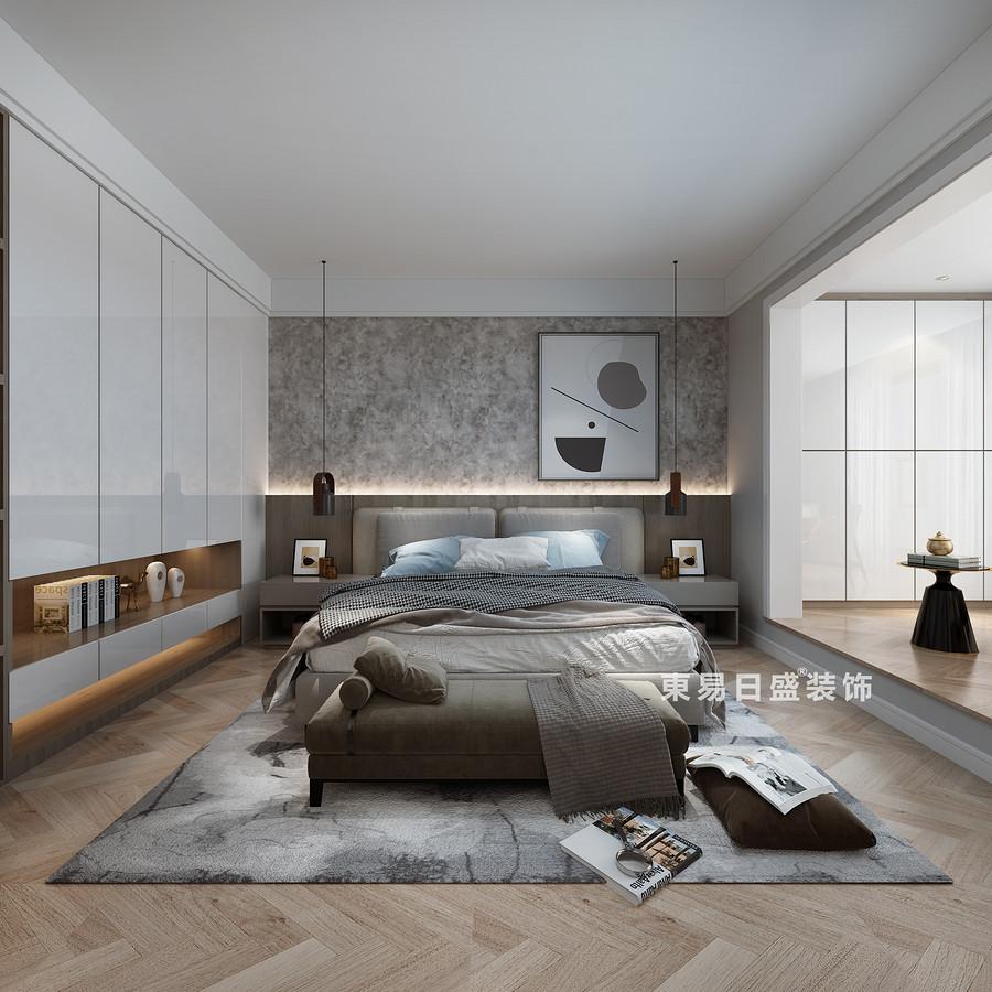 桂林复式楼280㎡现代简约风格:主卧室床头柜装修设计效果图