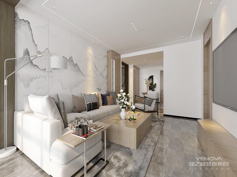 客厅是传统与现代居室风格的碰撞,设计师以现代的装饰手法和家具,结合古典中式的装饰元素,来呈现亦古亦今的空间氛围。中式风格的古色古香与现代风格的简单素雅自然衔接,使生活的实用性