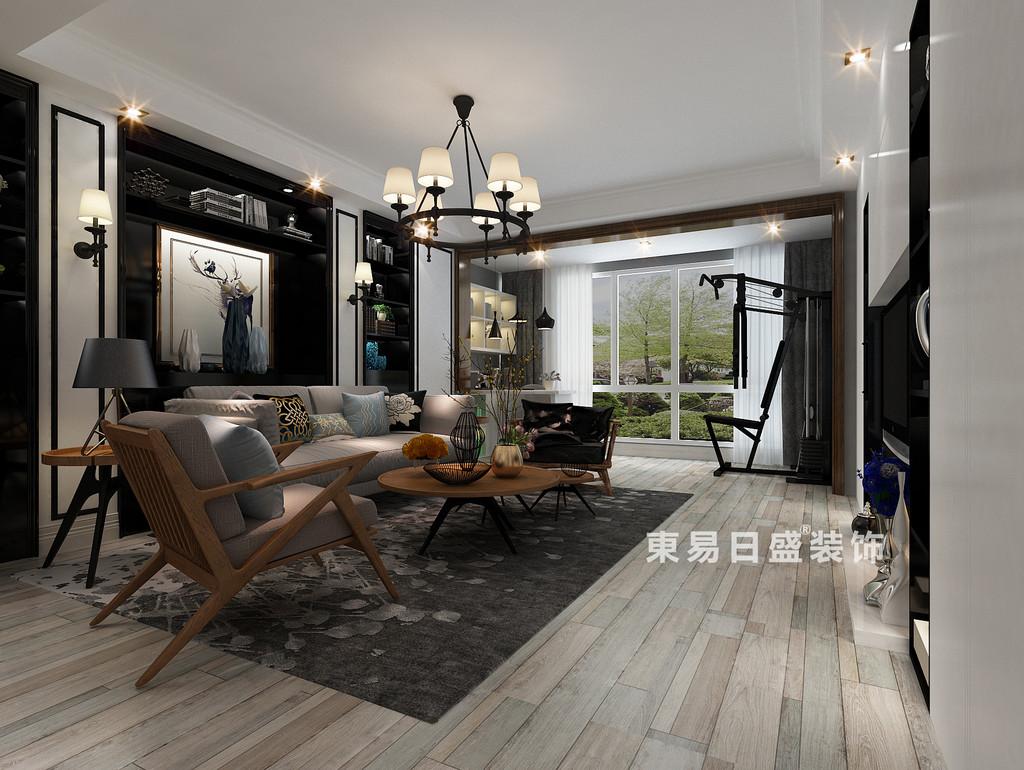 桂林彰泰•清华园四居室140㎡现代和美式混搭风格:客厅装修设计效果图
