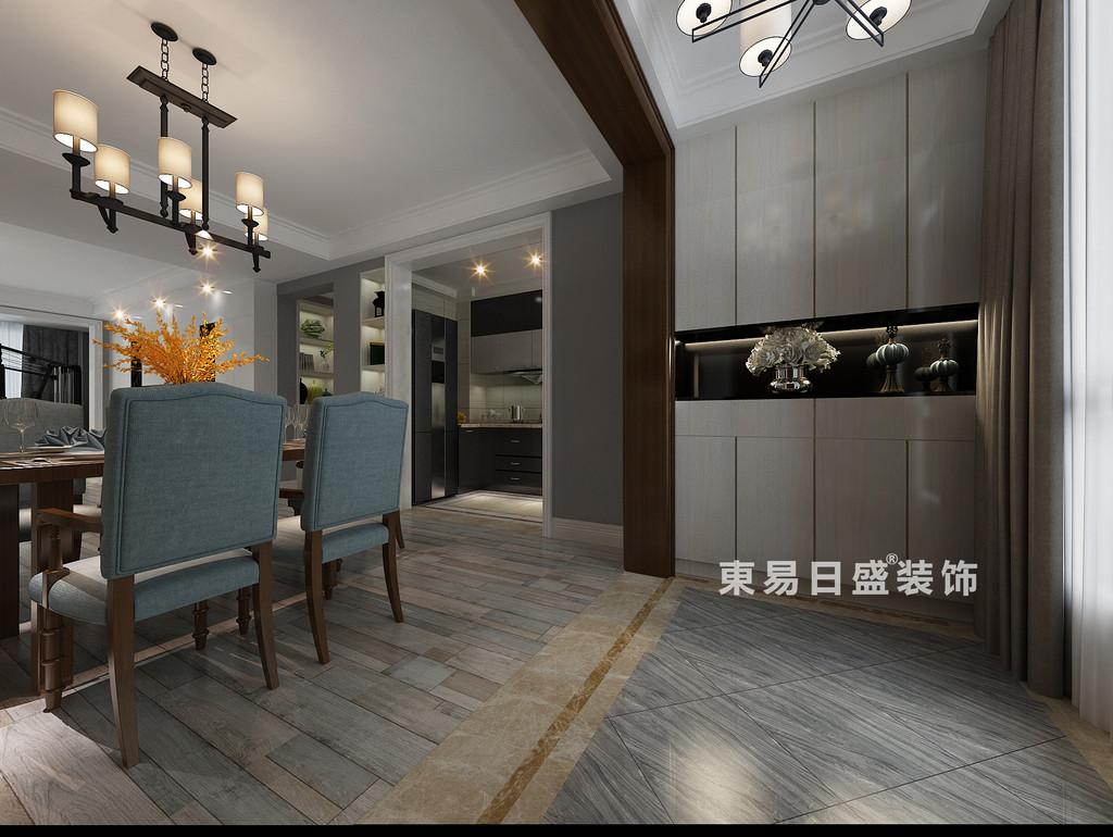 桂林彰泰?清華園四居室140㎡現代和美式混搭風格:餐廳過道裝修設計效果圖