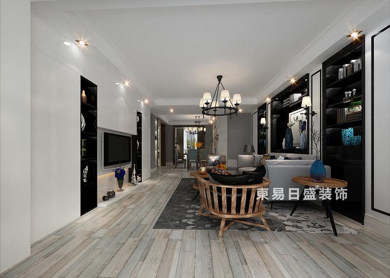 桂林彰泰?清華園四居室140㎡現代和美式混搭風格:客廳裝修設計效果圖(側視)