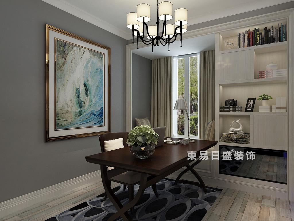 桂林彰泰•清华园四居室140㎡现代和美式混搭风格:书房装修设计效果图