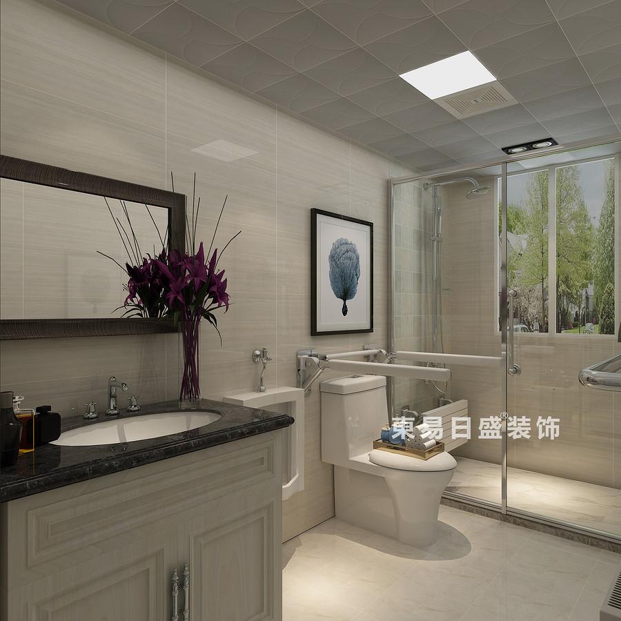 桂林彰泰•清华园四居室140㎡现代和美式混搭风格:主卫生间装修设计效果图