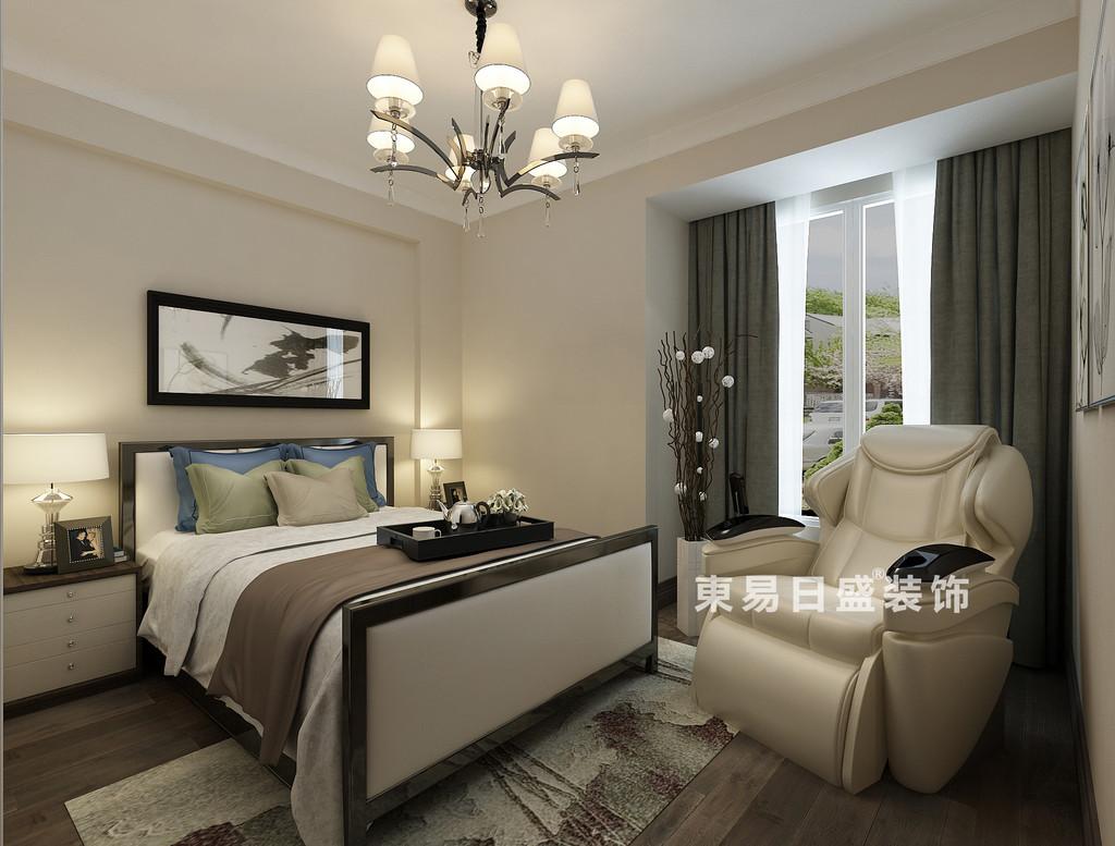 桂林彰泰•清华园四居室140㎡现代和美式混搭风格:卧室装修设计效果图