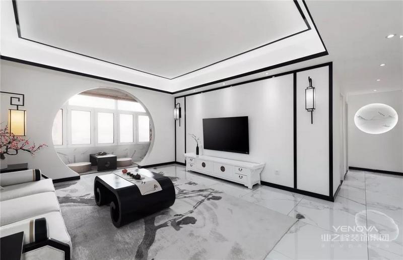 洁白的电视墙,以黑色边框造型,两侧还装上壁灯,在水墨丹青的风格搭配,带来的是一个独特的优雅风韵。